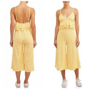 Poof Yellow Striped Jumpsuit Sz L (K13)
